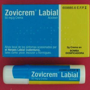 Zovicrem labial (5% crema 2 g bomba dosificadora)