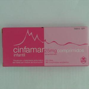 Cinfamar infantil (25 mg 10 comprimidos)